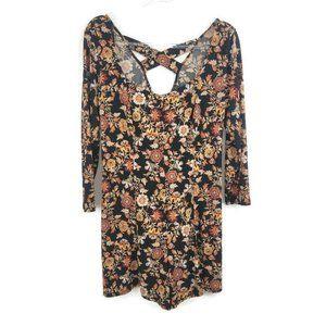 Forever 21 Vintage Y2K Plus Size Black Floral Fall Print Romper Dress Size 0X